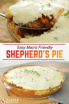 This mouth-watering comfort food classic shepherd's pie is definitely a crowd pleaser! A huge bonus is this version is macro friendly and crazy easy! You won't be peeling any potatoes or making a special gravy for this recipe; it's perfect for beginners! Shepards Pie Easy, Macro Friendly Recipes, Macro Recipes, Macro Meal Plan, Diet Recipes, Healthy Recipes, Recipes With Macros, Cake Recipes, Ripped Recipes