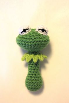 Kermit the frog Muppet Baby Rattle Crochet
