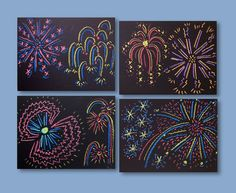 """Draw colorful """"fireworks"""" on black paper—or asphalt. They pop into spectacular when you look through the special glasses. Chalk fireworks make any day, or night, a celebration. Fireworks Pictures, Fireworks Art, Wedding Fireworks, Kratz Kunst, Classe D'art, 3d Chalk Art, 2nd Grade Art, Scratch Art, Ecole Art"""