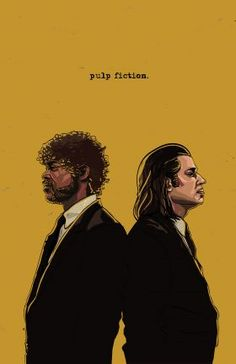 steel canvas Illustration pulp fiction jules vince travolta jackson tarantino digital illustration