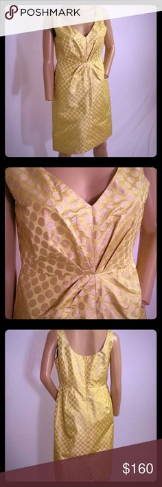"""J Crew Collection Gold Polka Dot Pembridge Dress J Crew Collection Pembridge Dress  Size 10 P  50% Silk, 27% Nylon,  23% Metallic  Back zip closure  Preowned in great condition  Bust across the front 18""""  Length 35.5""""    If you have any questions please ask! J. Crew Dresses"""