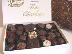 Our 1 pound assorted sugar-free chocolates is great for those who cannot have sugar. An assortment of milk and dark chocolate almond bark, coconut clusters, raspberry jellies, and cordial cherries to name a few. Comes beautifully gift wrapped. A great gift for the holidays.