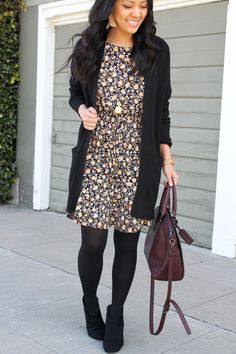 How to Wear a Dress in Different Seasons: Black Floral Dress Black Cardigan Tights and Booties Outfit with statement necklace and maroon bag Source by PavCK dresses black Casual Work Outfits, Winter Outfits For Work, Winter Outfits Women, Business Casual Outfits, Mode Outfits, Work Casual, Fashion Outfits, Ladies Outfits, Dressy Winter Outfits