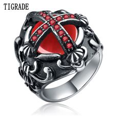 ec70d1abfa49 TIGRADE Cross Large Red Cubic Zirconia Rock Stainless Steel Punk Ring Men  Fashion Brand Biker Vintage Jewelry Band Knight Rings-in Rings from Jewelry  ...