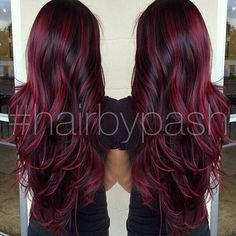 cherry bombre hair color for brunettes. Hair Color And Cut, Ombre Hair Color, Magenta Hair, Burgandy Ombre Hair, Black Cherry Hair Color, Plum Hair, Red Hair For Black Hair, Cherry Red, Red Purple Hair Color