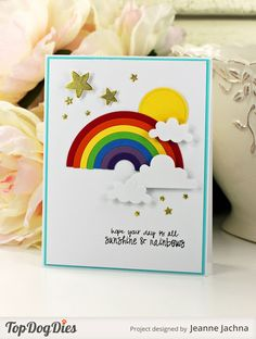 Jeanne Jachna: A Kept Life – Seize the Birthday!The Weather - (Top Dog Dies: Rainbow, Circles. Pretty Cards, Cute Cards, Handmade Birthday Cards, Greeting Cards Handmade, Rainbow Card, Rainbow Crafts, Get Well Cards, Kids Cards, Homemade Cards