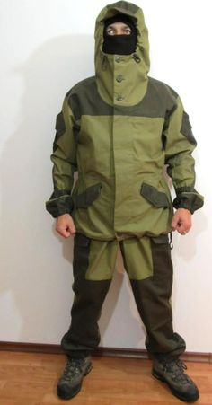 Soviet military improvised on the German smock technology from WWII creating the Gorka. Originally a mountain hiking suit, special units such as the infamous Spetsnaz began using these suits for both camouflage, wind, and water protection.