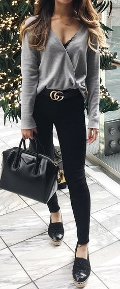 #winter #outfits  gray surplice long-sleeved shirt, black denim skinny jeans, pair of black leather platform espadrilles outfit