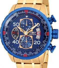 220959760ac relógio invicta aviator 19173 - azul dourado masculino