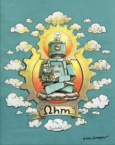 Mr. Ohms - Ink & Gouache by sumrow, via Flickr