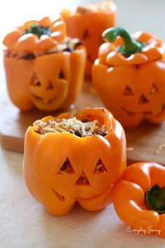 Halloween Stuffed Peppers - CountryLiving.com