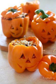 Halloween Stuffed Peppers  - CountryLiving.com