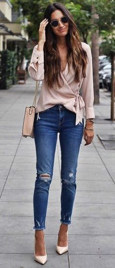 Jeans déchirés, jeans with heels, ripped jeans outfit, jeans outfits, Stylish Summer Outfits, Cute Winter Outfits, Spring Outfits, Casual Outfits, Stylish Clothes For Women, Outfit Jeans, Mode Outfits, Fashion Outfits, Womens Fashion