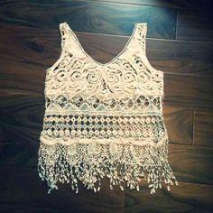 NWOT Cream Crochet Fringe Crop Top Never worn! So beautiful! Size medium. Price is firm! Bundle and save! Tops Crop Tops