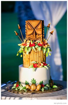 Hawaiian Luau Tiki Wedding Cake