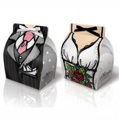 Bride Groom Wedding Favor Gift Box Dress Gown Tuxedo 200pcs/100 Pairs
