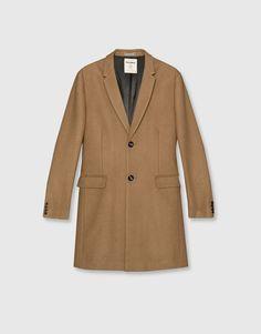 Pull&Bear - homem - vestuário - sobretudos - sobretudo pano básico - torrado - 09750509-I2016