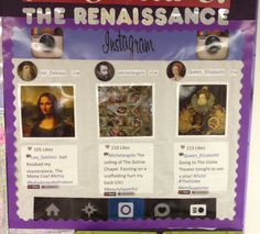 My #renaissance #bulletinboard ! I made it using pictures off the internet and formatting it using paint.  All the pictures are laminated.  #instagram