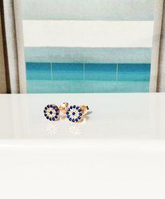 evil eye earrings stud rose gold MEGA SALE  Best by LuckyCharmsUSA