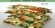 Easy, delicious spinach and tomato quesadilla with pesto!