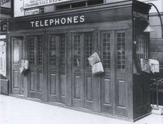 1930's public telephones at Charing Cross station, London. They were still there in the late 1960's.