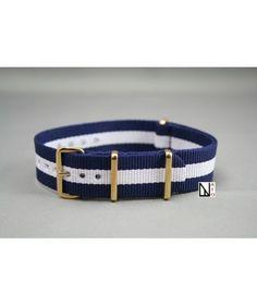 18e Bracelet nylon NATO Bleu Navy Blanc, boucle or (dorée)