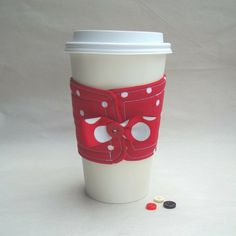 Disney Minnie Mouse inspired coffee cozy by DeegeeMarieGifts, $7.00