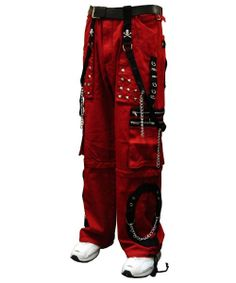 "Tripp NYC ""New Dungeon Dweller"" Bondage Pants (Red/Black)  These pants have it all Chrome Steel Chains metal zippers worn steel accents black material and crisp constrast stitching."