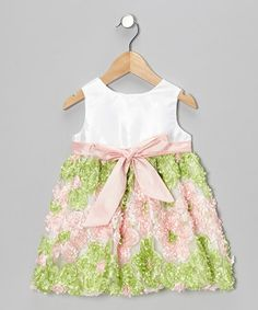 Take a look at this Pink & Green Flower Patch Bow Dress - Infant, Toddler & Girls by Haute Baby on #zulily today!  http://www.zulily.com/invite/Zulily20Store