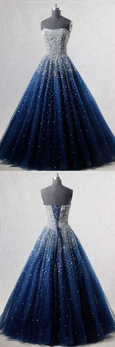 Blue sweetheart sequin tulle long prom dress, blue evening dress, blue formal dress #eveningdresses