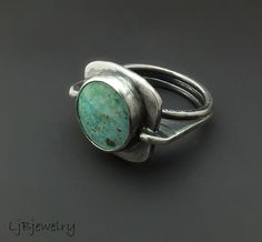 LjBJewelry on Etsy (Laura Jane Bouton): sterling silver ring with burtis blue turquoise