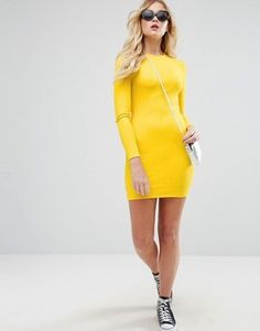 Asos Mini Bodycon Dress In Rib With Long Sleeves (Affiliate link) Bodycon Prom Dresses, Mini Prom Dresses, Prom Dresses Long With Sleeves, Bodycon Dress Parties, Cute Dresses, Dress Long, Dress Party, Outfit Essentials, Yellow Long Sleeve Dress