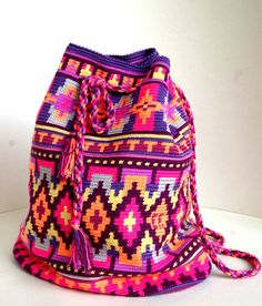 Colorato all'uncinetto mochila - colorato originale zaino crochet - uncinetto borsa a tracolla