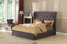 QUEEN Wing Bed Frame Bedroom Furniture French Provincial Chesterfield Grey Slate