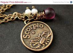 Scorpio Necklace  Zodiac by TheTeardropShop, $21.60