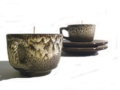 Espresso Cup and Saucer soy candles  Set of 2 by aromacandles, #essentialoil #candles #repurposed