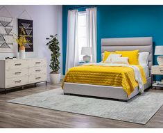 Contemporary Bedroom with yellow + teal details featuring the Elden Dresser & Hudson Queen Bed. Furniture Outlet, Cheap Furniture, Furniture Decor, Bedroom Furniture, Furniture Design, Furniture Movers, Living Room Decor, Living Spaces, White Nightstand