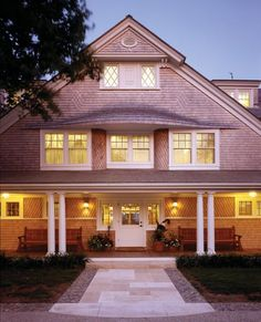 Legitimate favorite:  shingle home:  Love the (1) windows top-to-bottom; porch; front door; side lights; dormers