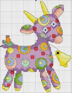 Very cute and colourful goat X-stitch pattern Cross Stitch For Kids, Cross Stitch Kitchen, Cute Cross Stitch, Cross Stitch Heart, Cross Stitch Animals, Cross Stitch Designs, Cross Stitch Patterns, Loom Patterns, Cross Stitching