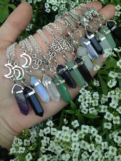 GOOD VIBES Quartz Pendant Charm Necklace OM Buddha Feather Tree of Life Moon Amethyst Aventurine Blue Sandstone Crystal Healing