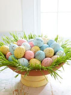 Easter Egg Centerpiece for your Easter brunch table ( terra cotta planter for riser)