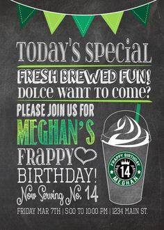 Cool chalkboard at a Starbucks birthday party!  See more party ideas at a CatchMyParty.com!