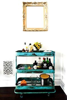 The Easiest Way To Keep Your Home Party-Ready — All The Time #refinery29  http://www.refinery29.com/homepolish/7#slide-5  Look at this cute thing! Scour your local flea markets for old bar carts and spruce them up with an unconventional color. This year's Pantone color is Marsala, FYI! Or, go for a cheery teal, like we did for one of New York mag's senior editors.