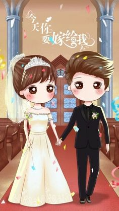 New wedding couple illustration drawing beautiful Ideas Love Cartoon Couple, Chibi Couple, Cute Love Cartoons, Cute Couple Art, Anime Love Couple, Cute Anime Couples, Girl Cartoon, Baby Girl Drawing, Cute Couple Wallpaper