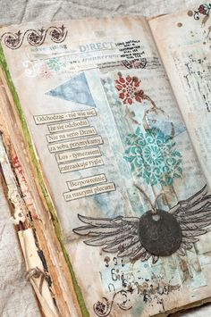 Altered art journal page with wings, feathers, stamps, and found poetry. Art Journal Pages, Artist Journal, Junk Journal, Art Journals, Visual Journals, Creative Journal, Creative Art, Altered Books, Altered Art