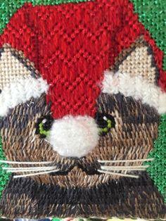 Santa Kitty #1 needlepoint