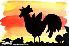 heel veel silhouetten maken Farm Crafts, Easter Crafts, School Art Projects, Art School, Drawing Lessons, Art Lessons, Drawing For Kids, Art For Kids, Rooster Silhouette