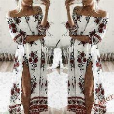 Women Print Slash Neck Off Shoulder Boho Beach Dress Casual Long Maxi Robe Femme Split Dress The Dress, Dress Skirt, Types Of Skirts, Floral Maxi Dress, Types Of Sleeves, Casual Dresses, Beach Dresses, Summer Dresses, Bikini
