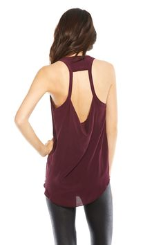 Chaser drape back silk tank in cabernet at Marketplace on Broadway