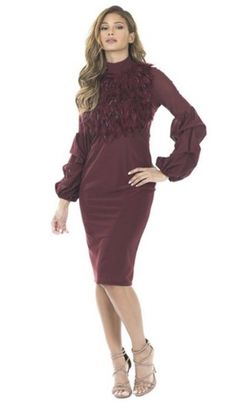 Burgundy Dress With Feathers Sexy Dresses, Prom Dresses, Hip Hop Fashion, Online Fashion Boutique, Burgundy Dress, Dress To Impress, Wedding Gowns, Feather, Cold Shoulder Dress